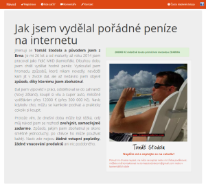 Tomáš Stodola - web fiktivního obchodníka
