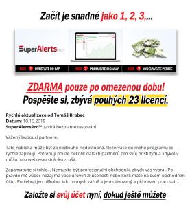 Informace o SuperAlertsPro na webových stránkách