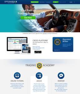 OptionsClick - webová stránka brokera