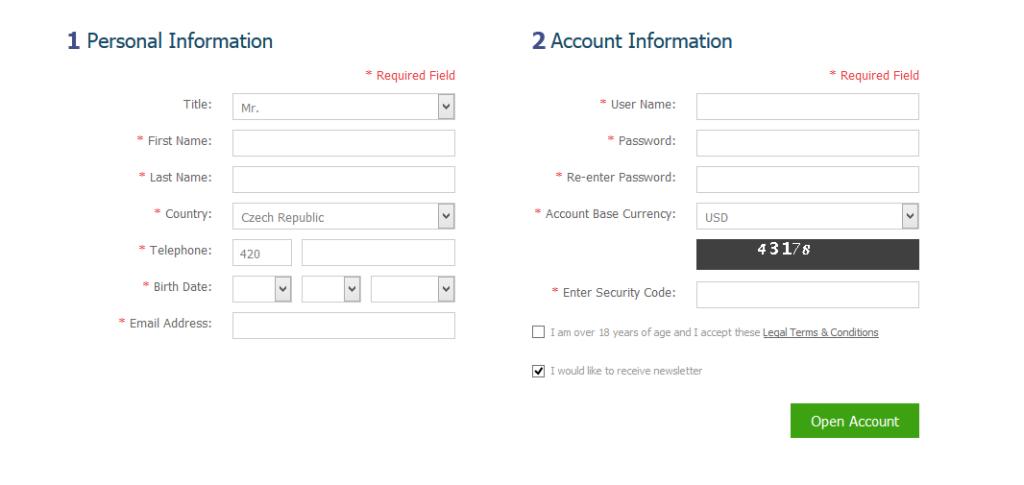 Registrační formulář na webu brokera