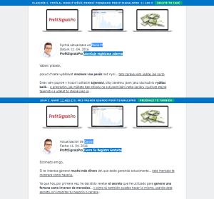 Srovnání české a španělské verze Profit Signals Pro