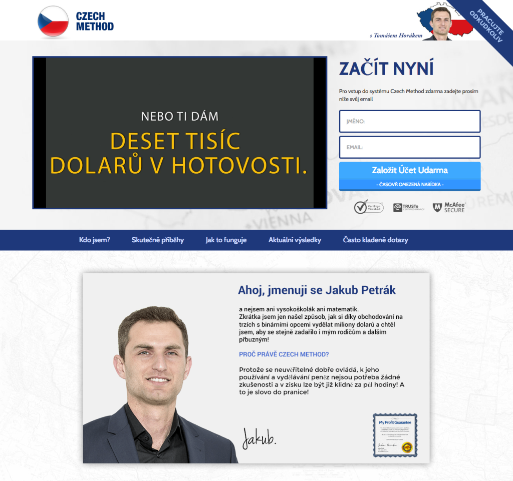 Webová stránka podvodu Czech Method